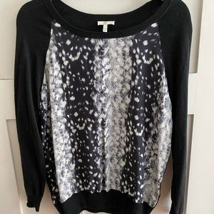 Joie Malena Black Sweater Snow Leopard Silk Overla